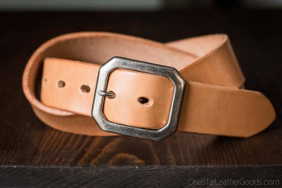 "Custom sized belt - 1.25"" width - THICK 12 oz. tan harness leather - center bar buckle"