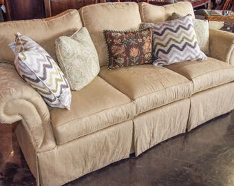 "Vintage Ethan Allen Pale Yellow 87""Wide Living Room Sofa,  Excellent Condition"