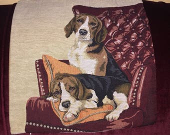 Country Beagles Dogs on a Wing Chair Tapestry Pillow Cover