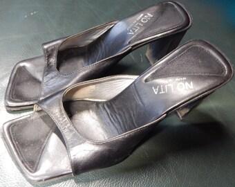 "Vintage Black Leather Sandals with 2.5"" heel, worn, size 7"