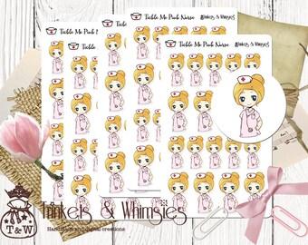 Tickle Me Pink Nurse Stickers 102 | Student Nurse Future RN Stickers | Clinicals Planner Stickers