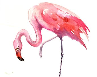 Flamingo Artwork, Painting, Original watercolor 12 X 9 in, pink flamingo lover, flamingo painting, flamingo wall art, pink room
