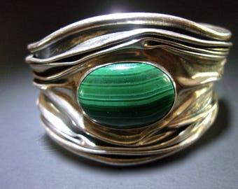 Malachite Sterling Silver DOMINIQUE DINOUART Cuff Bracelet, Artisan Modernist Vintage