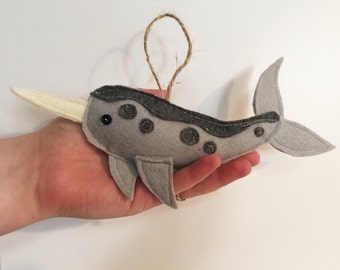 Narwhal Felt Christmas Tree Ornament