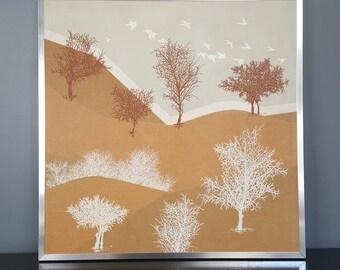 Vintage Van Amstel Framed Landscape Serigraph Wall Art