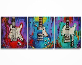 Guitar painting, Music art, Gift for a musician, Guitar art, Les Paul, Original abstract guitar painting on canvas- triptych by Magda Magier