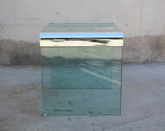 Pace Collection Chrome and Thick Glass End Table / Side Table Vintage Mid Century 1970s 1980s Modern
