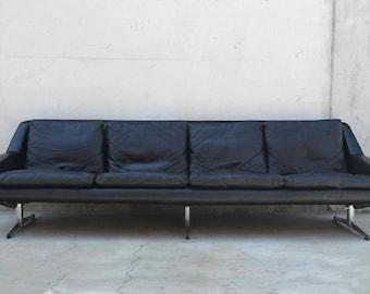 1960s Danish Black Leather Sofa by Gustav Thams Vintage Danish Modern
