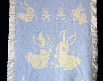 Vintage Baby Blanket Bunnies Pale Yellow Satin Edge SOFT Blue and Yellow Reverse Print 1940s-1950s
