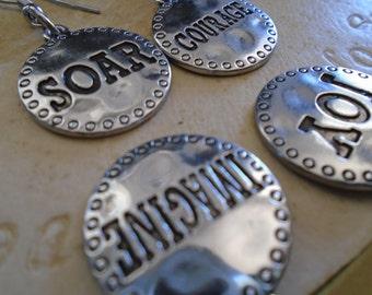 2 pairs of earrings! Silver metal dangling earrings. Special and encouraging message. Soar, Courage, Imagine and Joy dangling earrings,