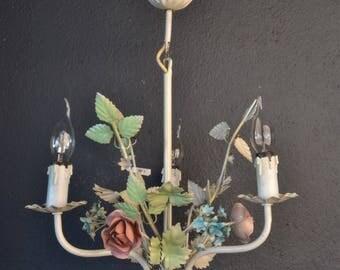 Colourful Italian tole Flower Chandelier