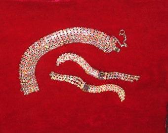 1960s Jewelry Set, Rhinestone Trellis Long Earrings and Matching Wide Bracelet, 1960s, Hollywood Glamour, 1960s Glitz, Statement Rhinestones