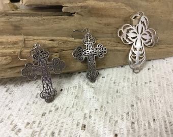 Vintage Sterling Cross with Earrings