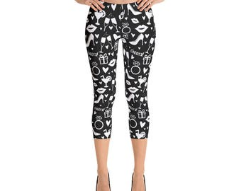 Women's Bachelorette Party Leggings. White on Black. Polyester & Spandex Blend. Size XS-XL. Printed and Sewn in USA. Full or Capri