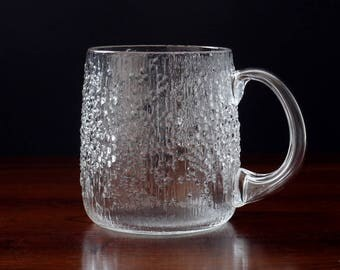 Iittala Finland Hopla Glass Beer Tankard; Retro Finnish Textured Mid-Century Lager Glass; 1970s Tapio Wirkkala Mug
