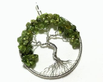 Peridot Tree of Life Pendant, Green Tree-of-Life Necklace, Silver Peridot Jewelry, August Birthstone