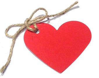 10 Red Heart Shaped Tags with Natural Jute Twine  -  70mm x 60mm