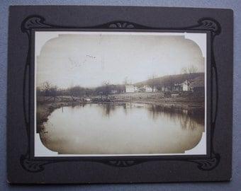 Antique, Circa 1910s, Silver Gelatin Photograph of Rural Landscape on Art Nouveau Designed Cardboard