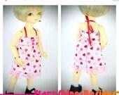 Sale 20% Off BJD YoSD 1/6 Doll clothing - Sundress in Glitter Hearts Print
