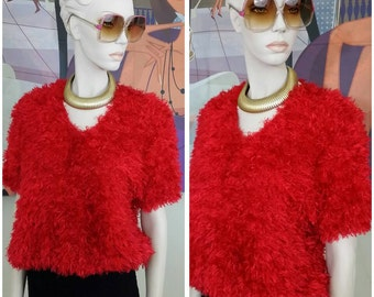 Vintage Faux Fur red knit blouse top size M