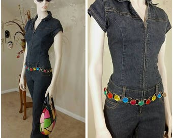 vintage STRETCH denim jumpsuit by Goddess Trend size S