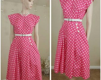 vintage 80s pink and white polka dots dress by Milarzo size 5