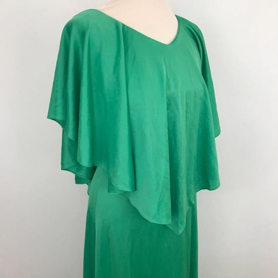 Vintage dress Grecian style 1970s maxi dress jade green long dress gathered drape UK 6 i petite red carpet evening cape 70s disco