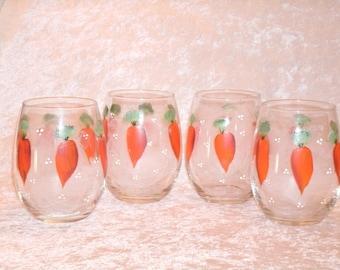 CARROT WINE GLASSES, easter, stemless, set of four