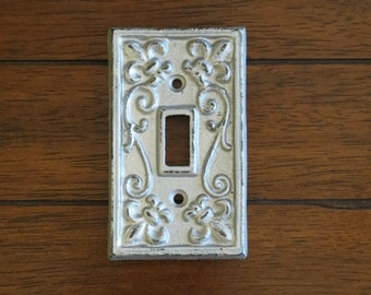 Light Switch Fleur De Lis Cover / Silver Or Pick Color / Light Plate Cover / Cast Iron Lightswitch Plate / Wall Decor French Country Cottage