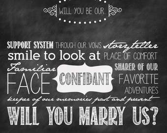 Will You be Our Officiant?  - 5.5x5.5 Chalkboard Printable Digital File