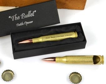 1 x Engraved Bullet Bottle Opener Bridal Party, Bucks, Groomsman, Best Man Gift