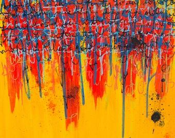 Abstract painting, modern art, pen and ink graffiti art, original painting, art by Hanna Bruer / Smoke Out The Children
