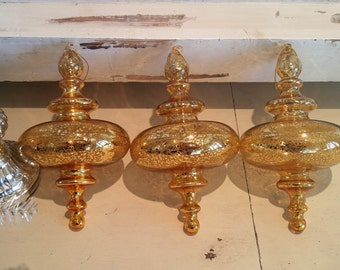 VtG SeT of 3 Gold SPINNING Top Mercury GLASS OrNamEnTs LG
