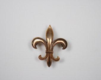 Gold Fleur De Lis Pin - Vintage Fleur De Lis Brooch - Fleur De Lis Jewelry - Antique Watch Pin - Fleur De Lis Watch Pin - Antique Brooch -