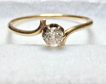 14KT Rose Gold Antique Diamond Engagement Ring
