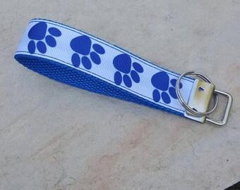 Wristlet keychain, key fob wristlet, wrist keychain, wristlet, blue paws, paw print keychain, blue paw wristlet