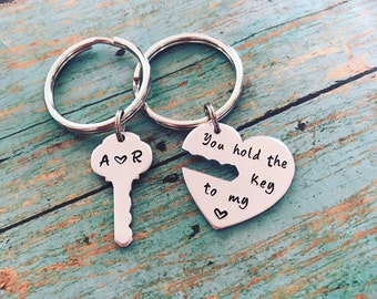 Custom Handstamped Keychain, Key to my heart keychain set, gift for couples, anniversary gift, Valentine's Day gift, boyfriend girlfriend