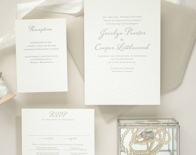 Blind Letterpress Invitation, Letter Press Wedding Invitations, Elegant Invite with Blind Impress Lace | Invitation DEPOSIT - Harmony