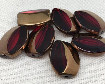 10 Metallic Translucent Red Glass Beads 16mm
