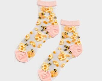 Honey Bee Sheer Socks