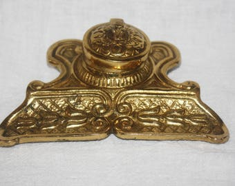 Vintage Small Brass Inkwell