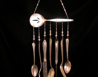 Wind Chimes Silver Plate Server with Silverware Unique Handmade Repurposed Vintage