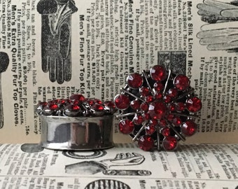 Big Ruby Red Rhinestone Plugs, gauges    1 inch, 1 1/8