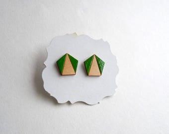 Geometric earrings, Wooden Pentagon Laser cut Earrings, Minimalist earrings, Stud Green Earrings, Laser cut Jewellery