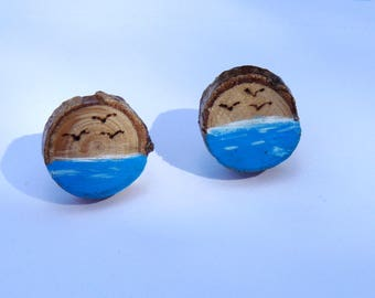 Hand painted stud earrings, Blue sea with seagulls studs, Branch slice earrings, Summer earrings, Marine studs
