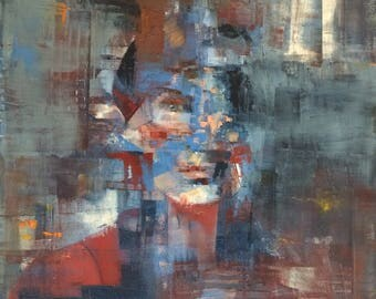 Curtain Call, woman portrait original oil painting 16x20