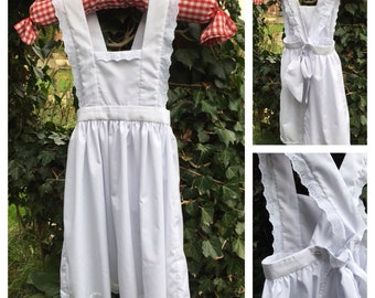 White Victorian style girl's pinafore apron 4-10 Years