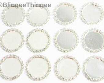 25 Pieces 1 Inch Rhinestone Bottlecaps Setting Photo Blank Trays 25mm Round Flatback Single Row Crystal Clear Rhinestones DIY Craft Supplies