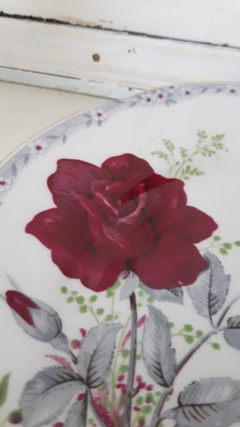 Hand made vintage china cake stand, trinket stand, beautiful rose covered design