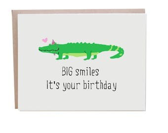 Alligator, Crocodile, Birthday Card, Happy Birthday, Crocodile Card, Funny Birthday Card
